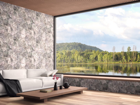 Contemporary living room with nature view 3d render,The rooms have wooden floors, natural stone walls and wooden ceiling decorated with white fabric sofas with large windows overlooking the lake view.