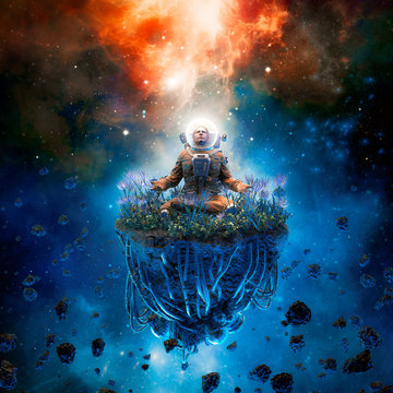 The cosmic gardener / 3D illustration of surreal science fiction scene with meditating astronaut on artificial asteroid surrounded by flowers