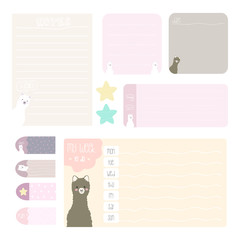 cute notes set with baby alpaca