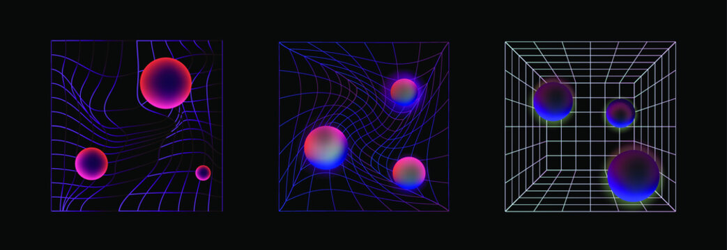 Laser grid with glowing neon spheres on dark background. Vaporwave and synthwave style illustration.