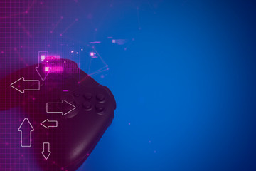 joystick controller electronic for playing game with online network connection in esport tournament challenge concept, cyberpuck style light