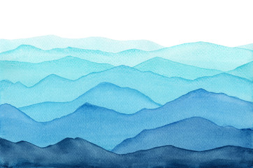 Poster Blauw abstract indigo light blue watercolor waves mountains on white background