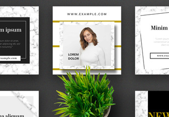 Set of Social Media Post Layout with Marble Texture