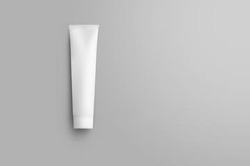 Mockup of a white bottle with a cap for lotion isolated on background.
