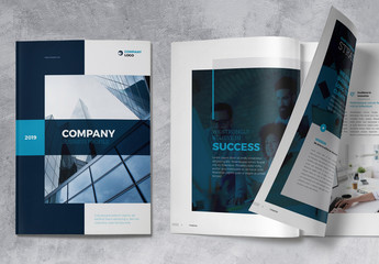 Company Profile Brochure Layout with Dark Blue Accents