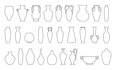 Obraz Vases and amphoras collection. Vase pottery, ancient pot greek. Various forms of vases. Outline vector illustration. - fototapety do salonu