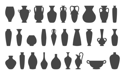 Fototapeta Vases and amphoras collection. Vase pottery, ancient pot greek. Various forms of vases. Silhouettes vector illustration. obraz
