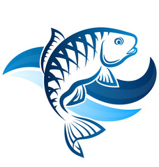 Fish on blue water waves illustration for fishing