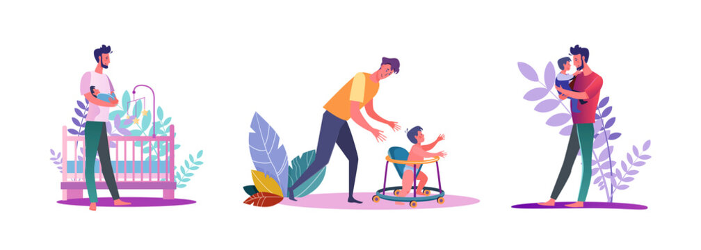 Set of casual men spending time with their children. Flat vector illustrations of young men at dad duties. Fatherhood and parenting concept for banner, website design or landing web page