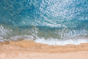 Summer aerial photo of beach with ocean and free space for your decoration.