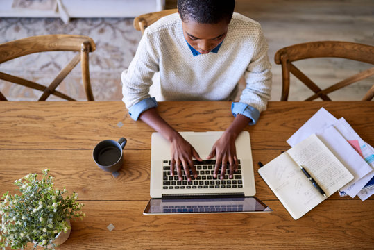 Focused young African American female entrepreneur working from her home