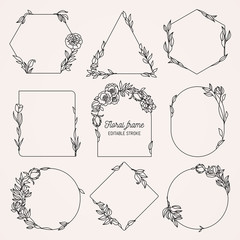 Collection of geometric vector floral frames. Round, oval, triangle, square Borders decorated with hand drawn delicate flowers, branches, leaves, blossom