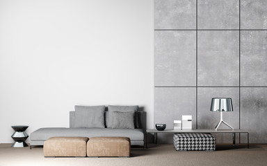 Living room interior design in white and concrete background, 3D render