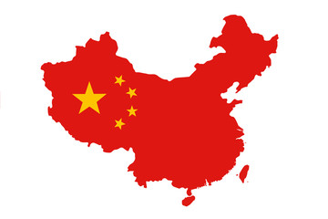 Flag of China in the form of a map on a white background Fototapete