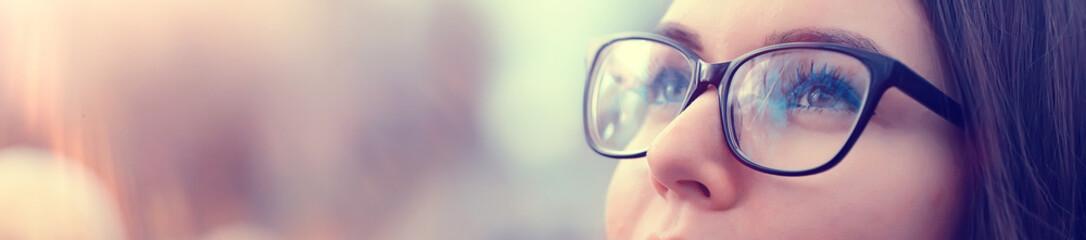 autumn girl glasses / autumn look girl in transparent glasses, eyesight Fototapete