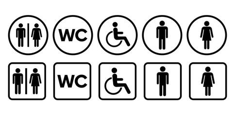 Bathroom WC signs. Toilet sign. Vector illustrations