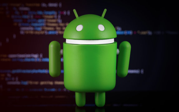 Google Android figure on digital blur background. Google Android is the operating system for smartphones, tablet computers, e-books, game consoles, and other devices. Moscow, Russia - March 18, 2019