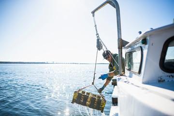Pulling pots for conch shellfishing on Narragansett Bay