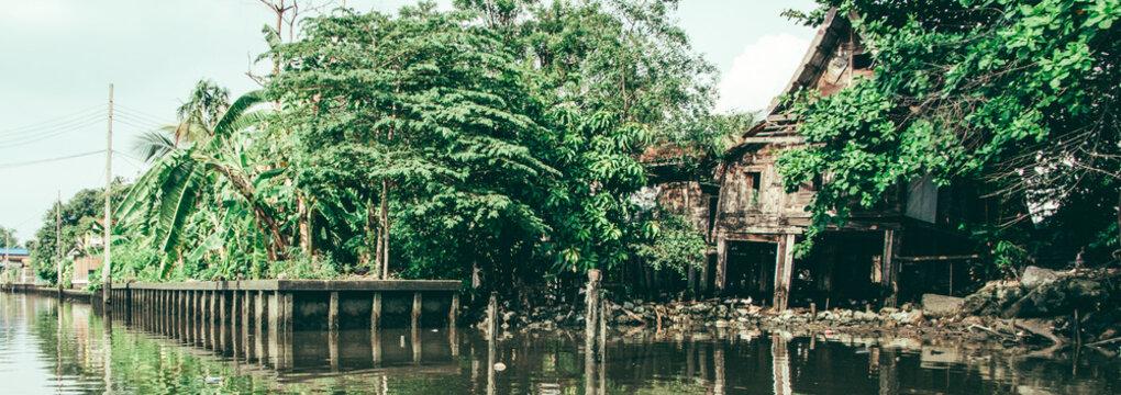River house at the banks of Chao Phraya River, Bangkok, Thailand