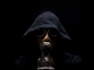 Man wearing a gas mask