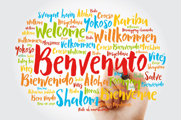 Benvenuto (Welcome in Italian) word cloud with marker in different languages, conceptual background