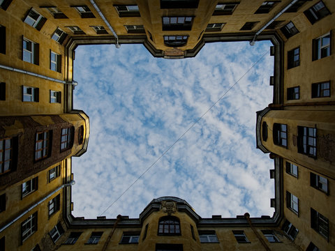 Window to the world in the courtyard-well of old St. Petersburg.