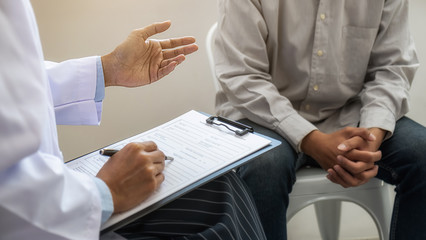 Psychiatrist or professional psychologist consulting on diagnostic examination disease or mental illness in medical clinic or hospital mental. Medical and Healthy service concept.
