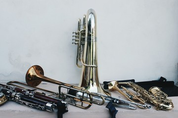 Close-Up Of Wind Instruments On Table