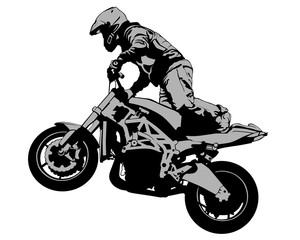 Wall Mural - Young man on sports bike performs tricks. Isolated silhouette on a white background
