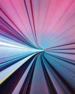 Long Exposure Of Illuminated Tunnel