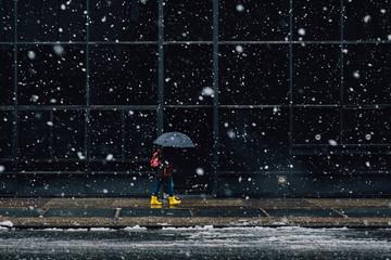 Woman With Umbrella walking on sidewalk during snowfall