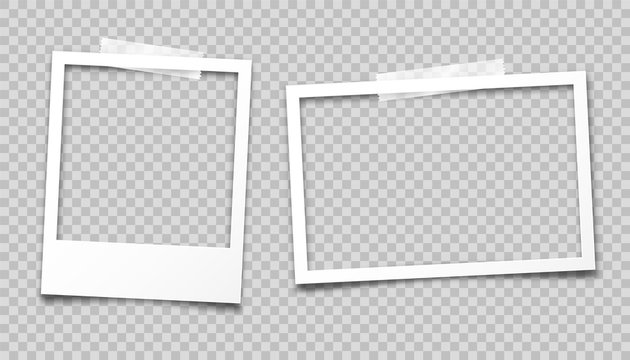 Realistic empty photo card frame, film set. Retro vintage photograph with transparent adhesive tape. Digital snapshot image. Template or mockup for design. Vector illustration.