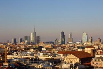 Wall Murals Milan Skyline of Milan with the modern skyscrapers of Porta Nuova, Italy