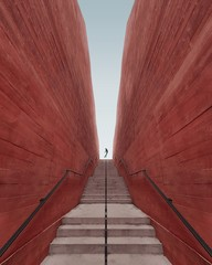 Low angle view of red steps against clear sky