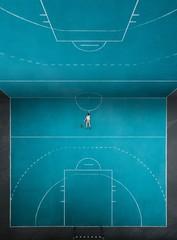 Digital Composite Image Of Man Lying On Basketball Court