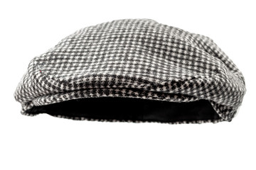Floating grey hunting tweed flat cap or newsboy cap isolated on white background with clipping path cutout using ghost mannequin technique