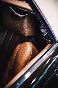 Close-Up Of Vintage Car Seat