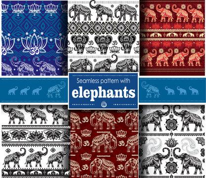 Set of seamless ethnic pattern with elephants
