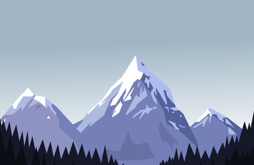 Mountain landscape vector illustration. Winter view with snowy mountain and pine tree