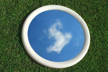 Reflection Of Sky And Clouds In Mirror On Grass
