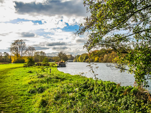Pangbourne in Berkshire view of River Thames in October.