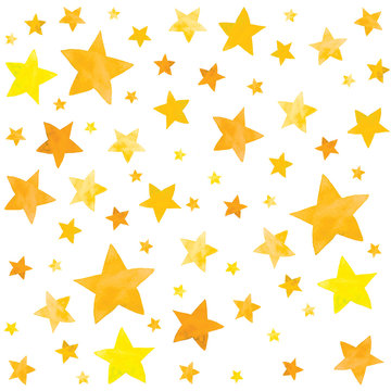 Watercolor illustration of gold yellow stars set