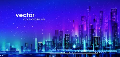 Photo sur Aluminium Bleu fonce Vector night city illustration with neon glow and vivid colors.