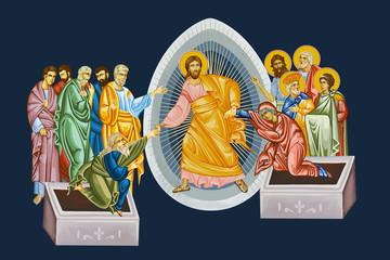 Easter. Illustration in Byzantine style depicting the scene of the Jesus Christ's resurrection on dark blue background