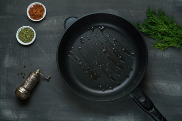 oil on the frying pan - Top View on a dark background