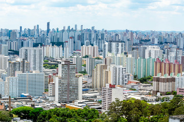 Aerial view of Bras neighborhood region of the city of Sao Paulo SP Brazil during the day. View of a big south american city.