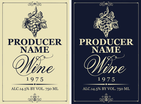 Set of two vector wine labels with hand-drawn bunch of grapes and calligraphic inscription in retro style.