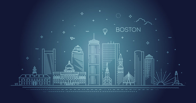 Boston architecture line skyline illustration. Linear vector cityscape with famous landmarks