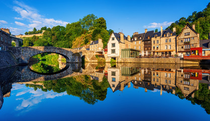 The Old bridge in the port of Dinan town, France Fotomurales
