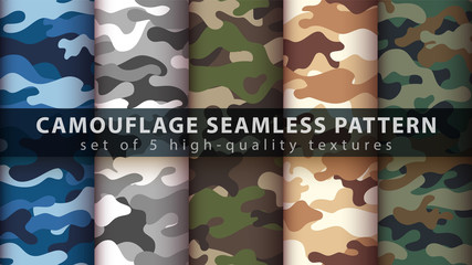 Poster Kunstmatig Set camouflage military seamless pattern